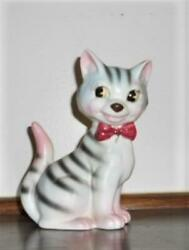 Vtg Cat Figurine Green amp; Pink Tiger Stripe Kitsch Ceramic Cute Kitten