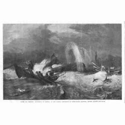 South Sea Whaling By Oswald W Brierly Whale Hunting - Antique Print 1868
