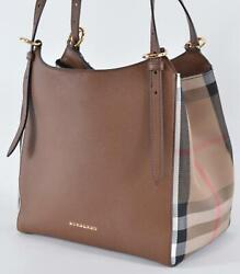 New Burberry $1250 CANTERBURY Derby Leather House Check Small Satchel Purse Bag $832.50