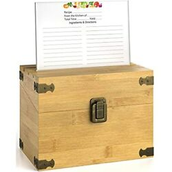 Premium Kitchen Recipe Box -luxury Handcrafted Bamboo Wood Case With Card Holder