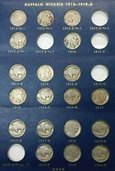 Choice Partial Buffalo Nickel Dates Set In Album 1913-1938 60 Coins Missing 4