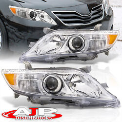 Chrome Amber Oe Style Head Lights Lamps Left+right For 2010-2011 Toyota Camry
