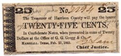 Texas C.s.a. State Harrison County Marshall M-10 25 Cents Feb. 23 1863 F/vf Z