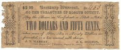 Texas C.s.a. State Bosque County Meridian M-unlisted 2.50 Aug 25 1862 Vg/f Z
