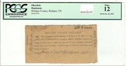 Texas C.s.a. State Refugio County Refugio M-unlisted 50c Jan 2 1863 Pdgs12 Z