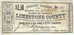 Texas C.s.a. State Limestone County Springfield M-10 1.50 Sept 20 1862 F++