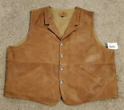 New Cabelas Coronado Brown Leather Vest Concealed Carry Size 54