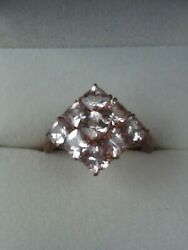 Qvc Morganite Ring 9ct Rose Gold - 2+ Carats Fab Colour And Sparkle - New