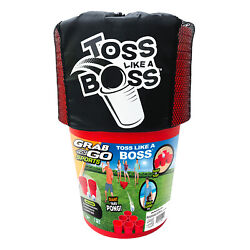 Banzai Toss Like A Boss Outdoor Giant Pong Lawn Game With Drawstring Carry Bag