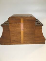 Vintage Wood 6 Pipe Tobacco Humidor Rack Stand Box Gift For Smoker Him