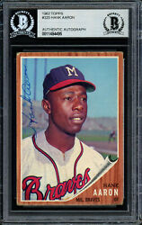 Hank Aaron Autographed 1962 Topps Card 320 Braves Vintage Beckett 11484495
