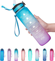 32oz Leakproof Bpa Free Drinking Water Bottle With Time Marker And Straw