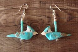 Hand Carved Turquoise Blue Jay Fetish Earrings By Matt Mitchell