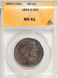 1893-o 1 Anacs Ms 61 Toned Better Date Barber Half Dollar