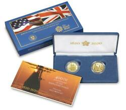 2020 400th Ann Of The Mayflower Two-coin Gold Proof Set 20xa Sealed Unopened
