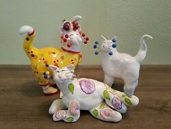 WhimsiClay Cats by Amy Lacombe Lot of 3