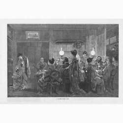 Japan A Japanese Dinner Party - Antique Print 1874