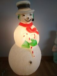 Vintage Union Blow Mold Dimpled Snowman Pipe 40 Frosty Red Scarf Candy Cane