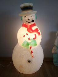 Vintage Union Blow Mold Dimpled Snowman Pipe 40 Frosty Red Scarf Candy Cane 2