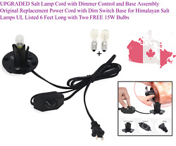 Upgraded Salt Lamp Cord With Dimmer Control And Base Assembly Original Replac...