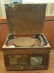 Vintage Orthophonic High Fidelity Record Player Rca Victor Radio Wooden Cabinet