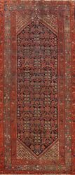 Antique Pre-1900 Vegetable Dye Geometric Hamedan Hand-knotted Runner Rug 5and039x12and039