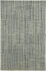 4x6 Surya Hand Knotted Wool Gray Bamboo 7404 Area Rug - Approx 4and039 X 6and039
