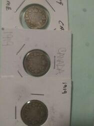1919 Canadian Silver Dime X 3