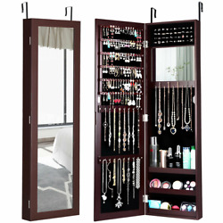 Wall Door Mounted Mirrored Jewelry Cabinet Armoire Storage Organizer Multicolor
