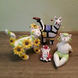 WhimsiClay Cats by Amy Lacombe Lot of 4 figures with flaws