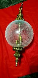 Vintage Large Swag Lamp With Crackle Glass Globe Shade. Rare
