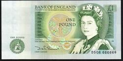 B341 Somerset 1981 Andpound1 Banknote Ds06 666666 Solid Number Aunc