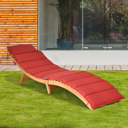 Folding Wooden Outdoor Lounge Chair Chaise W/ Red/white Cushion Padded Poolside