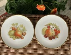 Vintage Bareuther Bavaria West Germany 2 Plates Variety Of Fruits And Gold Rim 8