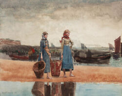 Winslow Homer Two Girls On The Beach Tynemouth Canvas Print 16 X 20  7032