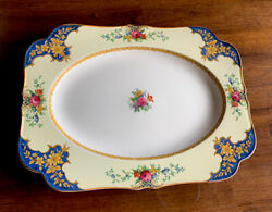Crown Ducal England Plater Tray Dish Dinner Serving Plate Blue Rose Rectangle 14