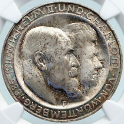 1911 Germany German State King Wurttemburg Antique Silver 3 Mark Coin Ngc I88110