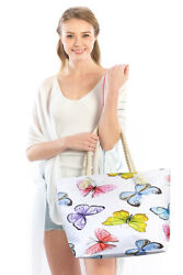 Jinscloset Women#x27;s Fashion Butterfly Print Travel Beach Bag $15.99