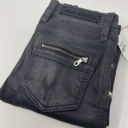 Rock Revival Moto Camille Women's Coated Crop Ankle Skinny Gray Jeans New