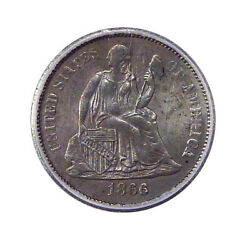 1866-s 10c Icg Au 58 Low Mintage Seated Liberty Dime Looks Uncirculated