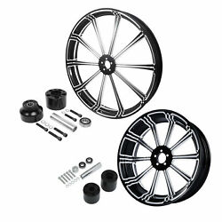 21'' Front Wheel Rim Hub 18'' Rear Set Fit For Harley Touring 08-up Single Disc
