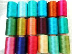 200 Pc Lot Silk Spool Thread Sewing Embroidery Indian Thread Spools Of Colourful