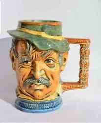 Vintage Rare Old Collectibles Capodimonte Drinkware Beer Mug Old Man 1900 Italy