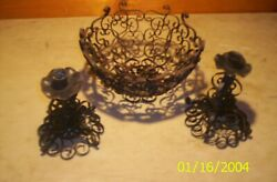 Antique Wrought Iron 2 Candle Holder Set 7 Tall And Bowl 10 X 6 1/4