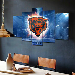 Chicago Bears Nation 5 Pcs Painting Printed Canvas Wall Art Home Decorative