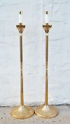 Pair Of Brass Processional Candlesticks Acolytes With Base Stands 108spal