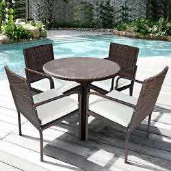 4 Pcs Outdoor Patio Rattan Dining Chairs Cushioned Sofa
