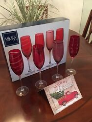 Mikasa Ruby Red Fluted Champagne Glasses - Set Of Four In Mikasa Gift Box
