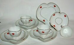 12 Pc Lot Coimbra S P Portugal Heart Shaped Dish 4 Cup/saucer And 4 Cookie/tidbit