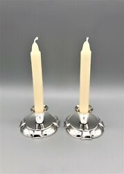 Pair Of Danish Silver Plated Dwarf Taper Candlesticks Hans Jensen C.1950s/60s